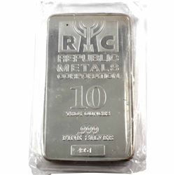 10oz Republic Metals Corporation .999 Fine Silver Bar in Sealed Plastic (lightly toned). TAX Exempt