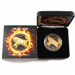 2016 Canada 1oz Coloured & Gilded .9999 Fine Silver Fire Cougar Encapsulated in Smitty's Treasures B