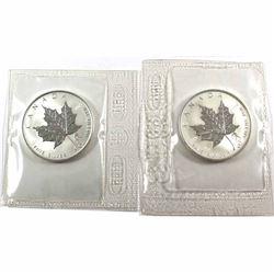 2004 Canada 1oz Libra & Aquarius Privy Mark Maple Leafs in Sealed Mint Plastic (Libra toned, Aquariu