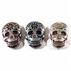 Monarch Precious Metals 2oz .999 Fine Silver Coloured Sugar Skulls - Orange Rose Design & Blue and P