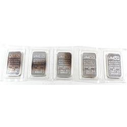 1oz Johnson Matthey .999 Fine Silver Bars in Sealed Plastic Strip. 5pcs (TAX Exempt)