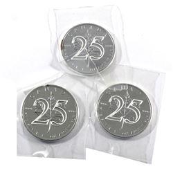 3x 2013 Canada 1oz Fine Silver Maple 25th Anniversary (Tax Exempt)