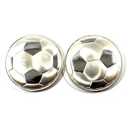 Monarch Precious Metals 1oz 3D Curved Soccer Ball .999 Fine Silver Rounds. 2pcs (TAX Exempt)