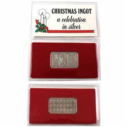 Rare Vintage 1985 Leach & Garner Noel 1oz .999 Fine Silver Christmas Ingot in Original Packaging wit
