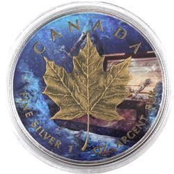 2014 Canada 1oz Underwater Treasure .9999 Fine Silver Coloured, Gilded & Antiqued Maple Leaf in Caps