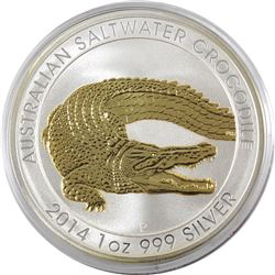2014 Australia 1oz .999 Fine Silver Gilded Saltwater Crocodile in Capsule (TAX Exempt)