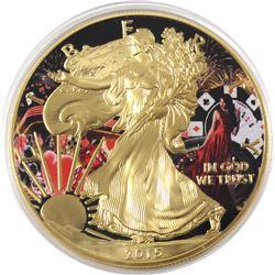 2015 USA 1oz Casino .999 Fine Silver Coloured & Gilded Eagle in Capsule (TAX Exempt)