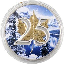 2013 Canada 1oz Winter Scene .9999 Fine Silver 25th Anniversary Maple Leaf in Capsule (TAX Exempt)
