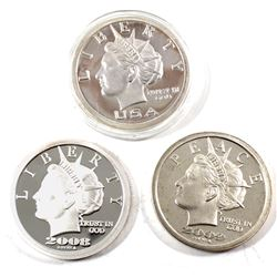 2006, 2008 & 2009 USA $20 Liberty Dollars 1oz .999 Fine Silver Rounds (lightly toned). 3pcs (TAX Exe