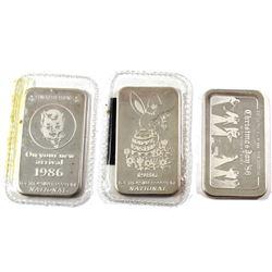 Vintage 1986 National 1oz .999 Fine Silver Bars - Christmas Joy, Happy Easter & Congratulations On Y