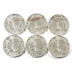 Monarch Precious Metals 1/2oz .999 Fine Silver Butterfly Rounds. 6pcs (TAX Exempt)