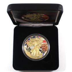 2018 USA 1oz Coloured & Gilded .999 Fine Silver Trump Eagle in Smitty's Treasures Black Display Box
