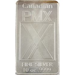 10oz Canadian PMX .9999 Fine Silver Bar (lightly toned). TAX Exempt