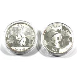 2008 & 2013 China 1oz Panda Fine Silver Coins (Tax Exempt) 2pcs