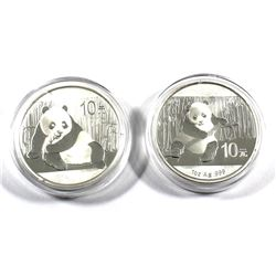 2014 & 2015 China 1oz & 30g Panda Fine Silver Coins (Tax Exempt) 2pcs