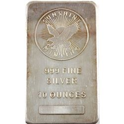 10oz Sunshine Minting .999 Fine Silver Bar (lightly toned, scratched). TAX Exempt