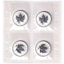 Sealed Plastic Sheet of 2007 Canada 1oz Pig Privy .9999 Fine Silver Maple Leafs (coins have light to