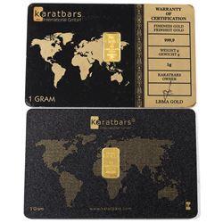 1 Gram Karatbars .9999 Fine Gold Bars in Different Designed Holders. 2pcs (TAX Exempt)
