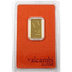 Valcambi Suisse 5g .9999 Fine Gold Bar in Hard Plastic Holder (TAX Exempt)