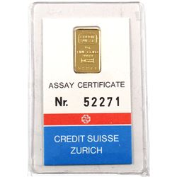 Credit Suisse Zurich 1 Gram .9999 Fine Gold Bar in Assay Certificate and Sealed Plastic (TAX Exempt)
