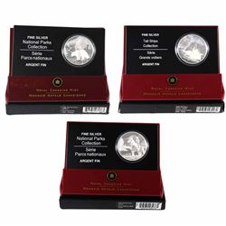 Lot of 2006 Canada $20 Fine Silver Coins - 2006 Tall Ships - Ketch, 2006 National Parks - Jasper & 2