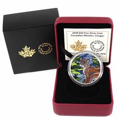 2018 $20 Canadian Mosaics - Cougar Fine Silver Coin (TAX Exempt)