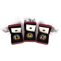 2010-2011 Canada $3 Wildlife Conservation Gold Plated Sterling Silver Square Coins - 2010 Barn Owl,