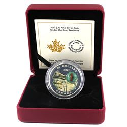 2017 Canada $20 Under the Sea - Seahorse Fine Silver Coin (outer sleeve lightly bent). TAX Exempt
