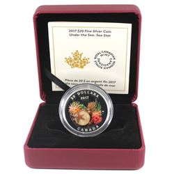 2017 Canada $20 Under the Sea - Sea Star Fine Silver Coin (outer sleeve unglued on one side). TAX Ex