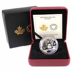 2014 Canada $20 Venetian Glass Snowman Fine Silver Coin (outer sleeve is bent). TAX Exempt