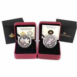 2012 Canada $15 Maple Hologram - Maple of Good Fortune & 2014 $20 Majestic Maple Leaves Fine Silver