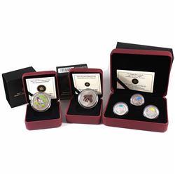 2011 Canada 25-cent Parks Canada - Our Legendary Nature 3-coin Sterling Silver Set, 2012 Birds of Ca
