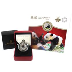 2007 Canada $8 Chinese Square Hole Coin & 2018 $8 The Peaceful Panda, A Gift of Friendship Fine Silv