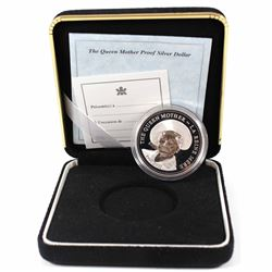 2002 Canada Queen Mother Proof Sterling Silver Dollar (missing outer sleeve).