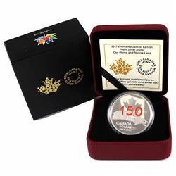 2017 Canada Red Enameled Special Edition Proof Silver Dollar Our Home & Native Land (TAX Exempt)