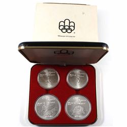 1976 Canada Montreal Olympics Series IV $5 & $10 4-coin Sterling Silver Set in Original Packaging wi