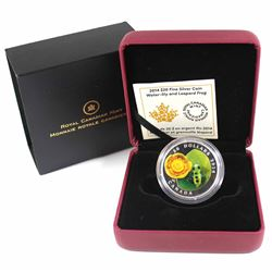 2014 Canada $20 Water-Lily & Venetian Glass Leopard Frog Fine Silver Coin (TAX Exempt)