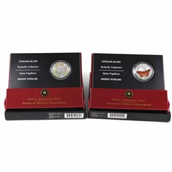 2005 Canada 50-cent Butterfly Collection - Great Spangled Fritillary & Monarch Sterling Silver Coins