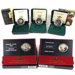 2002-2006 Canada 50-cent Canadian Floral Sterling Silver Series - 2002 Golden Tulip, 2003 Golden Daf