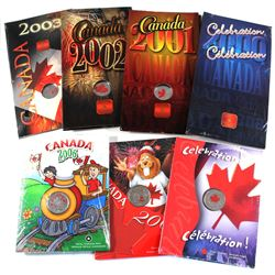 2000-2006 Canada 25-cent Coloured Canada Day Proof Like Coins in Folders. All plastic sealed except