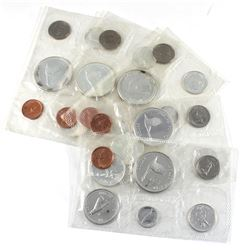5x 1967 Canada Proof Like Sets Including Only Coins in Sealed Pliofilm Plastic (coins are toned). 5p