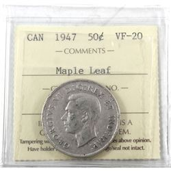 1947 Canada 50-cent Maple Leaf ICCS Certified VF-20