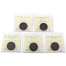 1884-1900 Canada 1-cent ICCS Certified - 1884 Obverse 2 VF-20, 1886 Obverse 2 VG-10, 2x 1896 VF-20 &