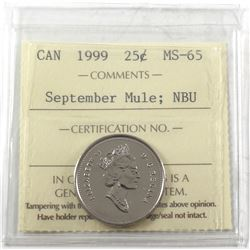 1999 Canada 25-cent September Mule ICCS Certified MS-65 Numismatic BU