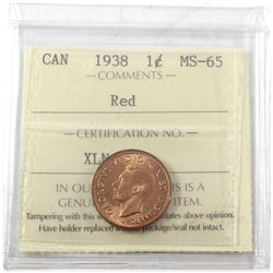 1938 Canada 1-cent ICCS Certified MS-65 Red