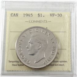 1945 Canada Silver $1 ICCS Certified VF-30 (Cleaned)