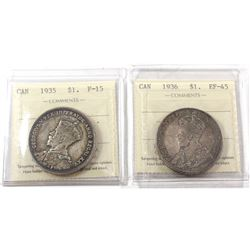 1935 Canada Silver $1 ICCS Certified F-15 & 1936 Silver $1 ICCS EF-45. 2pcs