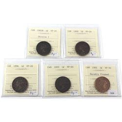 1882-1901 Canada 1-cent ICCS Certified - 1882H Obverse 2 VF-20, 1888 VF-20, 1896 VF-20, 1899 VF-20 &