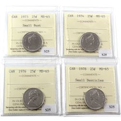 1973-1978 Canada 25-cent ICCS Certified MS-65 - 1973 Small Bust, 1974, 1976 & 1978 Small Denticles.