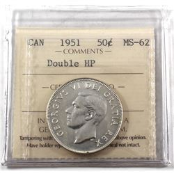 1951 Canada 50-cent Double HP ICCS Certified MS-62